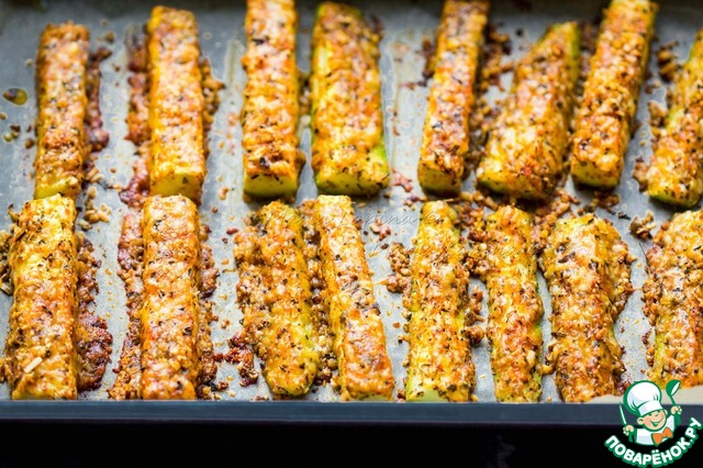 Запеченные кабачки в сырной панировке вкусный пошаговый рецепт с фотографиями как готовить #7