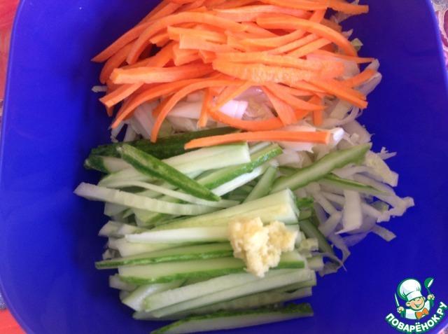 """Салат из свежих овощей """"Весенняя легкость"""" домашний рецепт с фото пошагово как приготовить #2"""