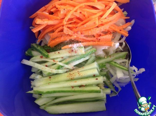 """Салат из свежих овощей """"Весенняя легкость"""" домашний рецепт с фото пошагово как приготовить #3"""