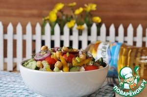 Готовим Салат с нутом, овощами и пряной заправкой вкусный рецепт с фото пошагово