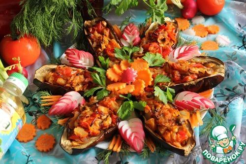 Готовим рецепт с фото Баклажаны с овощной начинкой #12