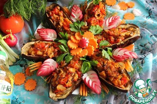 Готовим рецепт с фото Баклажаны с овощной начинкой #13