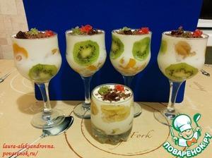Рецепт Творожный десерт с фруктами
