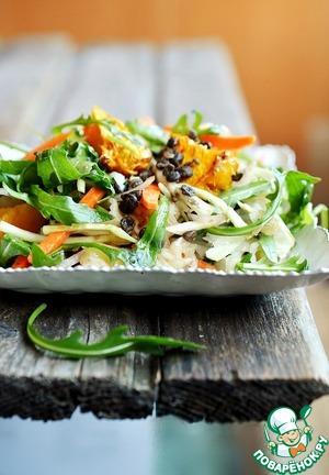 Салат с чечевицей, рукколой и квашеной капустой рецепт с фото пошагово на Новый Год