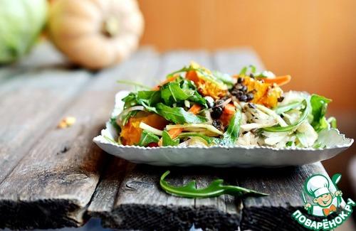 Салат с чечевицей, рукколой и квашеной капустой рецепт с фото пошагово #9