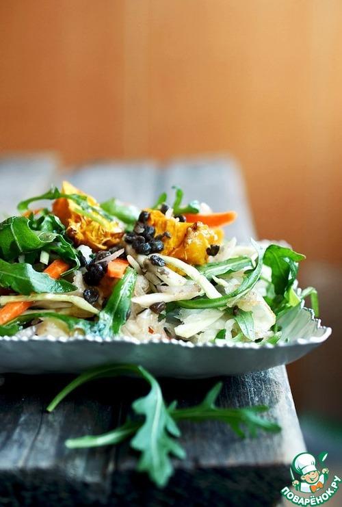 Салат с чечевицей, рукколой и квашеной капустой рецепт с фото пошагово #10