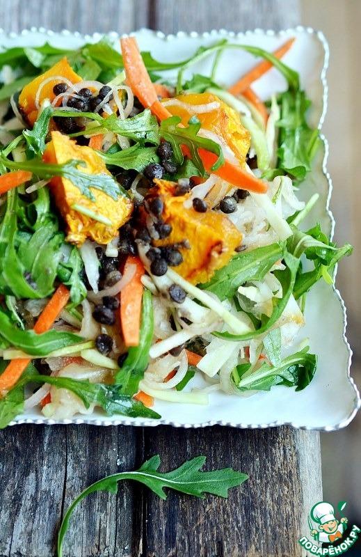 Салат с чечевицей, рукколой и квашеной капустой рецепт с фото пошагово #8