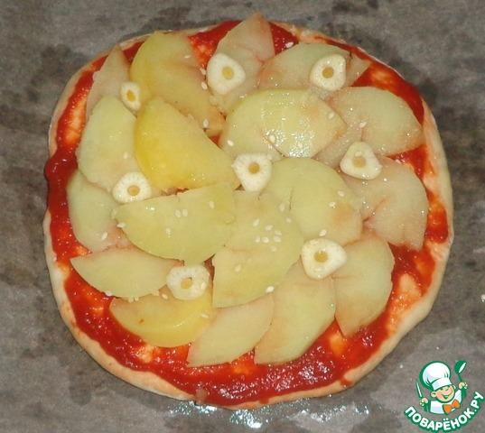 Пицца с картофелем и чесноком домашний пошаговый рецепт приготовления с фотографиями #4