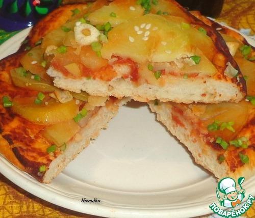 Пицца с картофелем и чесноком домашний пошаговый рецепт приготовления с фотографиями #6