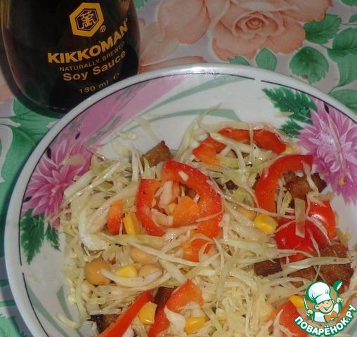 Салат с капустой и сухариками простой рецепт приготовления с фотографиями как приготовить #4
