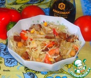 Салат с капустой и сухариками простой рецепт приготовления с фотографиями как приготовить на Новый Год