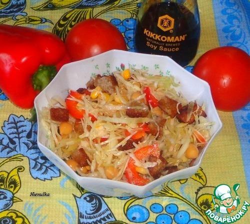 Салат с капустой и сухариками простой рецепт приготовления с фотографиями как приготовить #5