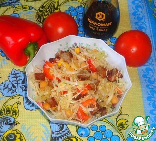 Салат с капустой и сухариками простой рецепт приготовления с фотографиями как приготовить #6