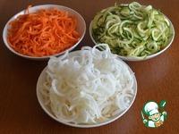 """Овощные """"спагетти"""" с медово-горчичным соусом ингредиенты"""