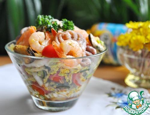 """Готовим простой рецепт с фотографиями Салат с маринованными морепродуктами """"Взморье"""" #7"""
