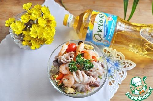 """Готовим простой рецепт с фотографиями Салат с маринованными морепродуктами """"Взморье"""" #8"""