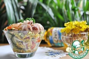 """Рецепт Салат с маринованными морепродуктами """"Взморье"""""""