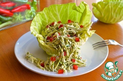 Как готовить Салат из капусты с заправкой из брынзы простой рецепт с фото пошагово #9