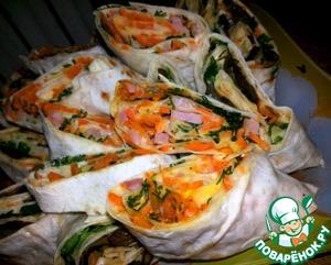 Рецепт Рулеты из лаваша с ветчиной и морковкой по-корейски