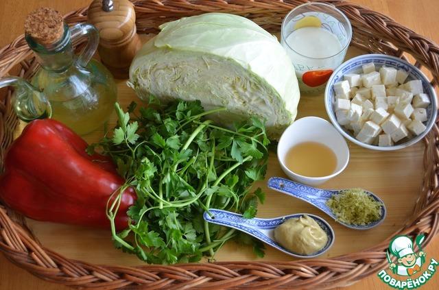 Как готовить Салат из капусты с заправкой из брынзы простой рецепт с фото пошагово #1