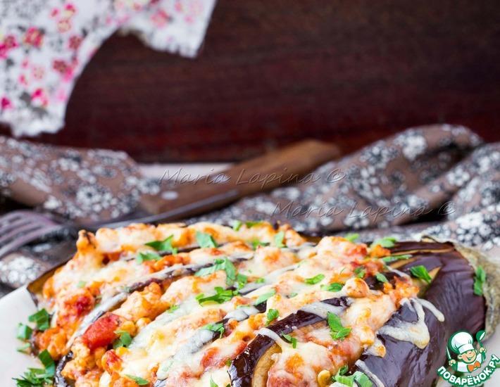Рецепт: Веер из баклажана с куриным рагу