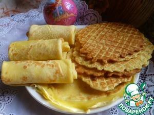 Рецепт Хрустящие вафли и мягкие блины из одного теста