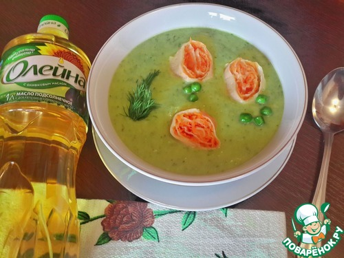 Домашний рецепт приготовления с фотографиями Суп-пюре из горошка с морковными рулетами #9