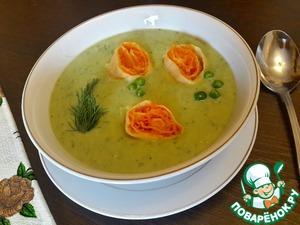 Рецепт Суп-пюре из горошка с морковными рулетами
