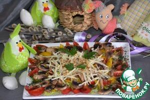 Рецепт Салат с сырыми шампиньонами и кедровым орехом