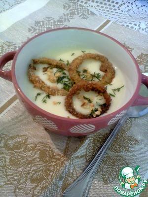 Рецепт Суп-пюре из цветной капусты с хрустящими луковыми кольцами и арахисом