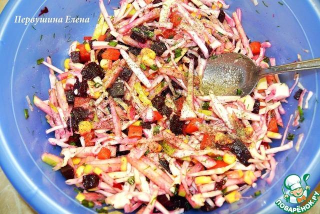 """Как приготовить Фруктово-овощной салат """"Весенние этюды"""" рецепт приготовления с фото пошагово #7"""