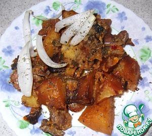 Куриные желудки с катофелем и грибами вкусный пошаговый рецепт приготовления с фотографиями