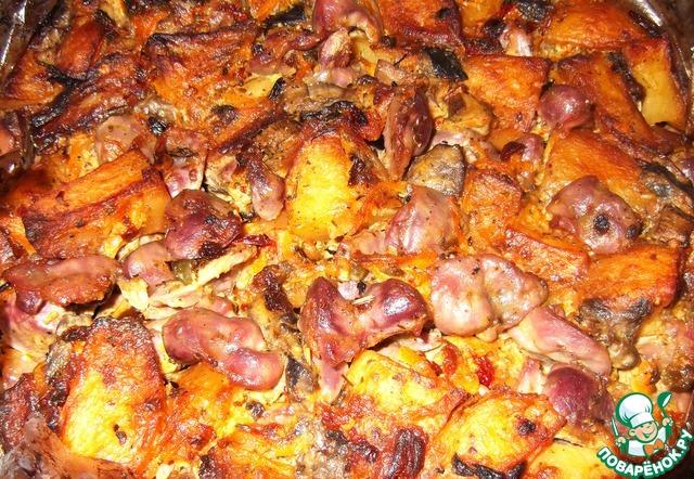 Куриные желудки с катофелем и грибами вкусный пошаговый рецепт приготовления с фотографиями #10