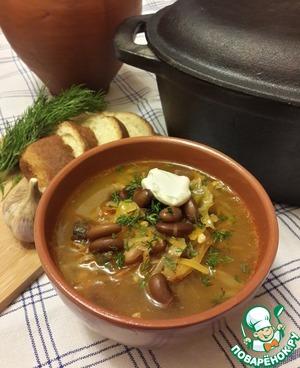 Рецепт Щи трехкапустные с фасолью (томлёные)