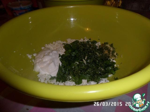 Как приготовить вкусный рецепт с фотографиями Блинчики на сыворотке с творогом и зеленью #3