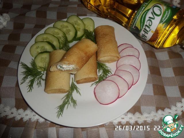 Как приготовить вкусный рецепт с фотографиями Блинчики на сыворотке с творогом и зеленью #5