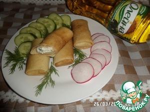 Рецепт Блинчики на сыворотке с творогом и зеленью