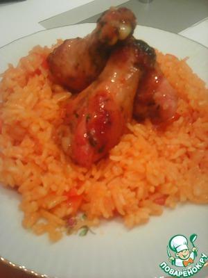 Рецепт Куриные крылышки с овощами и рисом