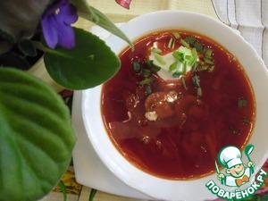Рецепт Борщ с шампиньонами и белой фасолью