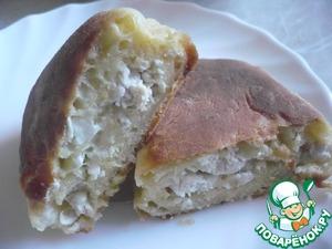 Рецепт Жареные пирожки из творожного теста с курицей и сыром