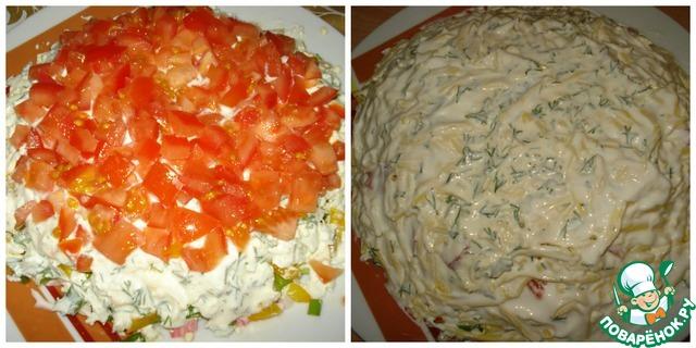 """Как приготовить Салат """"Хризантема"""" вкусный пошаговый рецепт с фото #4"""