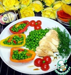 Рецепт: Куриное филе с зелёным горошком