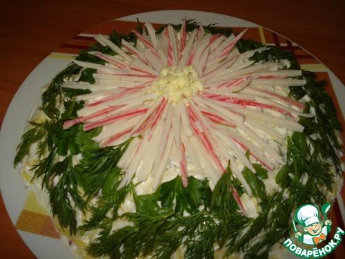 """Как приготовить Салат """"Хризантема"""" вкусный пошаговый рецепт с фото #7"""