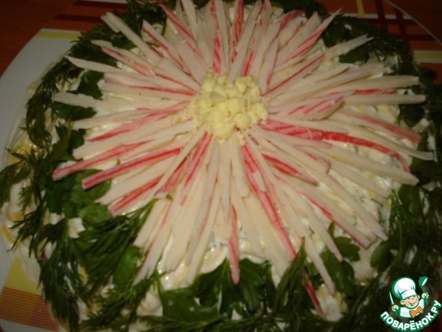 """Как приготовить Салат """"Хризантема"""" вкусный пошаговый рецепт с фото #5"""