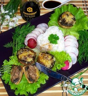 Рецепт Шампиньоны, фаршированные говядиной и картофелем