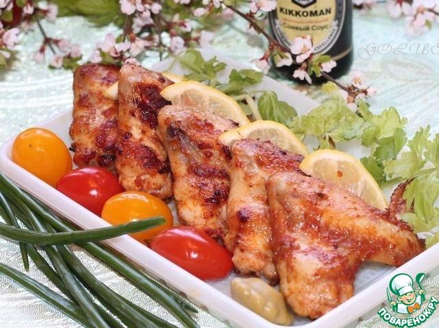 рецепт крыльев в духовке с овощами