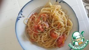 Рецепт Макароны с чесноком и помидорами