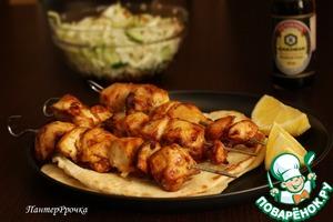Рецепт Пряный куриный шашлык с лимонными лепешками