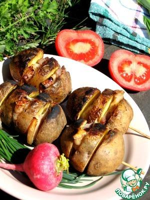 Простой рецепт приготовления с фото Картошка на мангале с салом