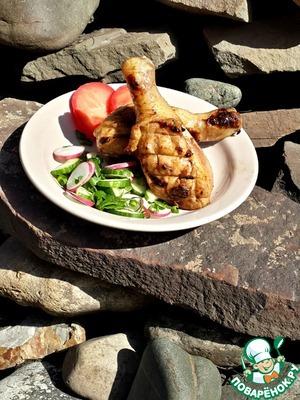Рецепт Курица на мангале в сливово-соевом маринаде
